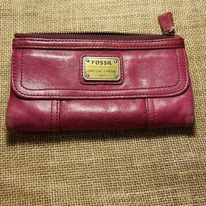 Pink/purple Fossil wallet - As Is